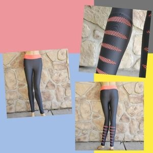 Under Armour Gray Orange Fitted Cold Gear Leggings